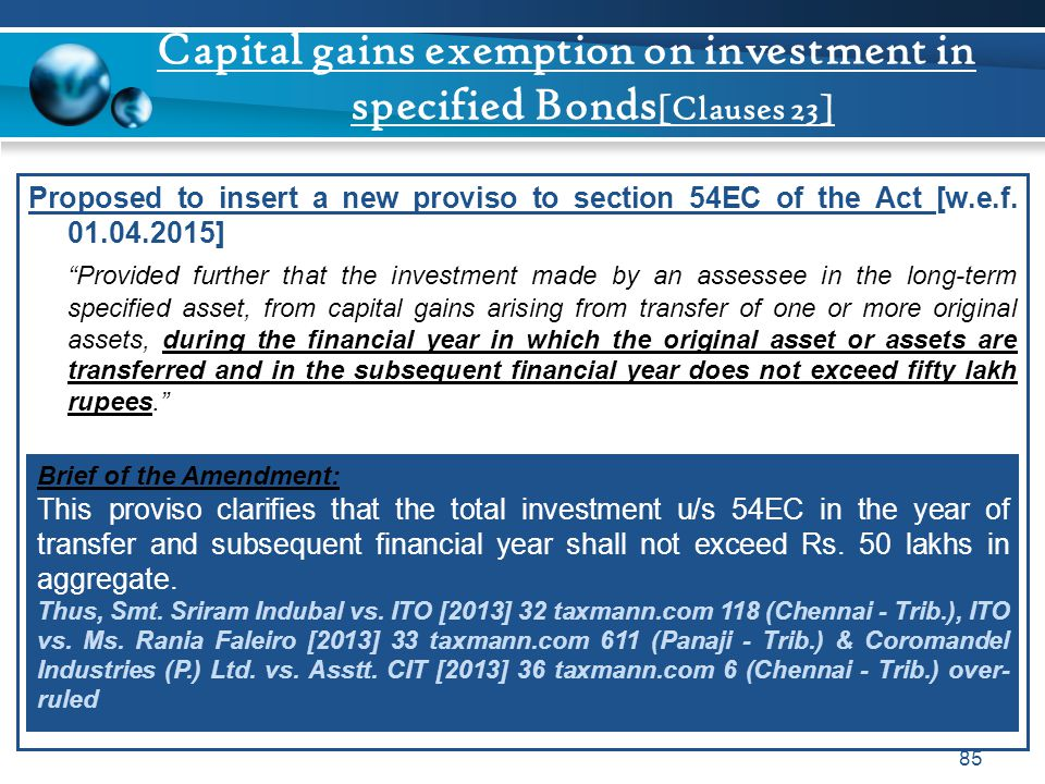 Capital gains exemption on investment in specified Bonds[Clauses 23]